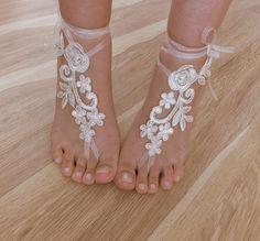 tobillera nupcial sandalias descalzas de marfil por WEDDINGGloves