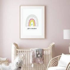 Nursery art prints and nursery ideas from Sunny and Pretty. Personalized rainbow print perfect for a baby girl nursery decor. Nursery art and nursery prints to complete your nursery decor project. Our nursery wall art is made with love and is designed to reflect your nursery wall decor style. 🖤 Get excited about decorating for your little one! #sunnyandpretty Baby Girl Nursery Decor, Nursery Themes, Nursery Prints, Baby Decor, Nursery Wall Art, Nursery Ideas, Playroom Ideas, Baby Room, Rainbow Nursery