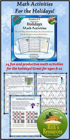 These holidays math activities are a great way to keep kids productive and motivated around Christmas, Hanukkah, and Kwanzaa. These math activities include motivating riddles and puzzles to keep kids' interest. They cover key math skills involving adding, subtracting, multiplying, dividing while using word problems, puzzles, and other problem-solving techniques. $