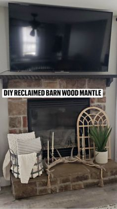 Wood Mantle, Fireplace Mantle, Reclaimed Barn Wood, Home Improvement Projects, Seasonal Decor, Wood Projects, Farmhouse Decor, Living Room, Lifestyle
