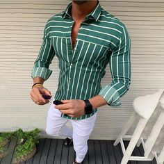 Mens Stripe Print Long Sleeve Casual Top Shirts is part of Mens stripes - HOT SALE! Size Bust Sleeve Length Length cm inch cm inch cm inch M 102 40 2 61 24 0 73 5 28 9 L 108 42 5 62 24 4 75 29 5 XL 114 44 9 63 24 8 76 5 30 Indian Men Fashion, Men's Fashion, Best Mens Fashion, Stylish Mens Outfits, Stylish Shirts, Mens Casual Shirts, Shirts For Men, Formal Men Outfit, Blue Suit Men