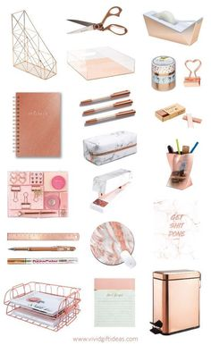 Birthday gifts for teenagers: rose gold school supplies and desk accessories, # for . - Birthday gifts for teenagers: rose gold school supplies and desk accessories, - Rose Gold Room Decor, Rose Gold Rooms, Cute Room Decor, Study Room Decor, Work Desk Decor, Cute Office Decor, Gold Office Supplies, Desk Supplies, Deco Rose