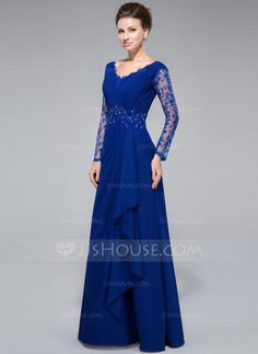 A-Line/Princess V-neck Floor-Length Chiffon Lace Mother of the Bride Dress With Beading Sequins Cascading Ruffles (008050416) - JJsHouse