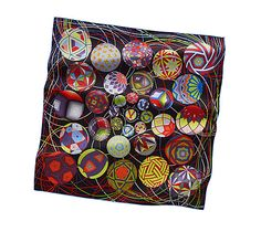 Carré Spring Summer L' Art du Temari Artist: Nathalie Vialars Silk Scarves, Hermes Scarves, Temari Patterns, Scarf Design, Womens Scarves, Scarf Wrap, Spring Summer, Shawls, Beautiful Scarves