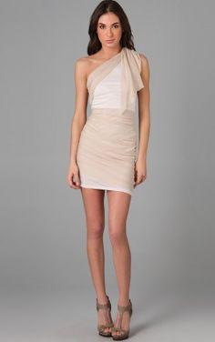Trendy Mini One Shoulder Sleeveless Column Chiffon NightClub Dresses