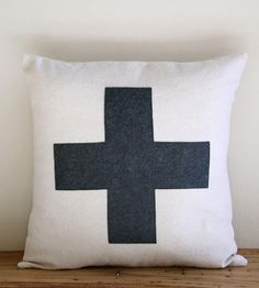 Swiss Cross Pillow Cover – Charcoal | Home Decor | Lori Todd | Scoutmob Shoppe | Product Detail