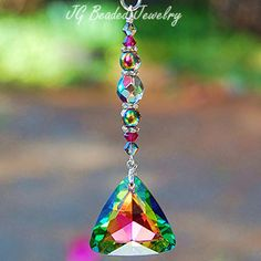 Fuchsia and Vitrail Crystal Car Charm #suncatchers #decoration #car #rearview #crystal #carcharm #sparkly #sparkle #prism #rainbows #Swarovski #handcrafted #vitrail #fuchsia