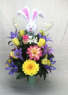 No.C0220 Spring Cemetery Arrangement. , Spring Cone Flower, Cone Arrangement,Grave,   Tombstone arrangement,  Cemetery flowers by AFlowerAndMore on Etsy
