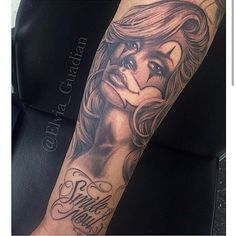 Big thanks to. @elvia_guadian for this beautiful #clowngirl tattoo done@goodfellastattoo give her a follow to see some beautiful art #chicanoarte #chicanostyle #lowriderarte #payasa