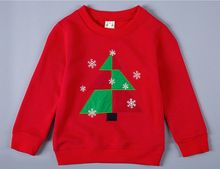 2016 Autumn Girls Boys Hoodies Sweatshirts 100% Cotton Christmas Tree Print Round Collar Tops xk240(China (Mainland))