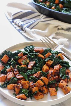 This Sweet Potato and Kale Hash is on the menu a lot at around here. It shows up alongside sticky buns at breakfast, veggie burgers at dinner, and sometim