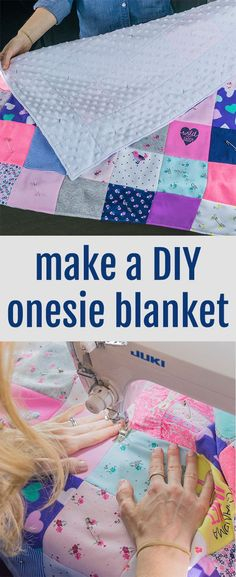 Cute DIY idea to use baby clothes in a onesie blanket! Perfect for a DIY baby qu. Cute DIY idea to Diy Baby Clothes Quilt, Used Baby Clothes, Baby Clothes Blanket, Trendy Baby Clothes, Babies Clothes, Patterns For Baby Clothes, Diy Baby Girl Blankets, Diy Blankets, Style Clothes