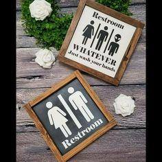 Restroom Sign - Handmade Farmhouse style wood sign   Bathroom sign, bath decor #LovinWood #Farmhouse