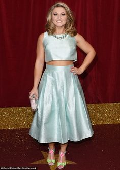 Bright and beautiful: Hollyoaks' Jazmine Franks stepped out in a metallic blue two-piece w. Blue Two Piece, Two Piece Skirt Set, Kym Marsh, Soap Awards, Hollyoaks, Tv Soap, Metallic Blue, Silver Dress, Old And New