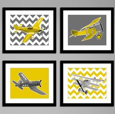 Boys airplane nursery art - vintage airplanes - yellow and grey children's playroom decor, custom colors WWI and WWII aircraft