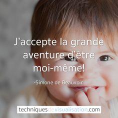 Simone de Beauvoir -j'accepte la grande aventure d'être moi même #citation #inspirante #positive #amour de soi #pensée