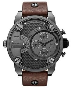 Diesel Watch, Chronograph Brown Leather Strap 51mm DZ7258 - Men's Watches - Jewelry & Watches - Macy's