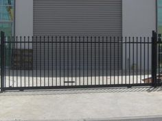 #SlidingGate 1800H x 3500 OP Standard steel sliding gate 1800mm high x 3800mm wide (suits 3500mm opening). Gates made with 25mm x 25mm pressed steel pickets which are welded through 40mm x 40mm horizontal rails. Visit: http://fencewarehouse.com.au/product_detail/sliding_gate_1800h_x_3500_op_black_only.htm