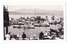 "BC – COWICHAN BAY, A ""Mop Fight"", at the Regatta, Thompstone c.1904-1920s RPPC"