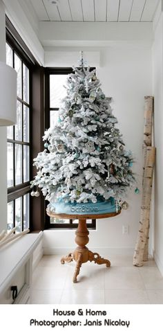 Flocked White Tabletop Christmas Tree