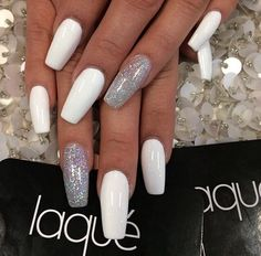 Long nails / white / silver / cute / nail design / new / 2014