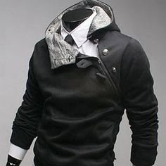black fashion hoodie with grey liner and side zip with toggle buttons
