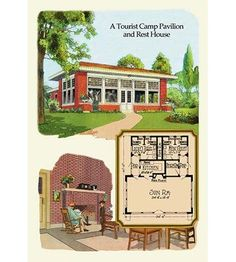 A Tourist Camp Pavilion and Rest Home by Geo E. Small House Plans, House Floor Plans, Interior Wood Shutters, Interior Paint, Interior Ideas, Rest House, Tiny House, Vintage House Plans, Pavilion Architecture