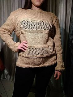 Women's blouse handknitted unique piece Clothing Loose Knit golden Plus Size XL Piece Of Clothing, Blouses For Women, Plus Size, Pullover, Knitting, Formal, Unique, Sleeves, Sweaters