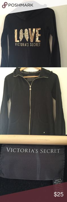 Victoria's Secret zip up hoodie Size xs... Fits more like a small. Victoria's Secret Tops Sweatshirts & Hoodies