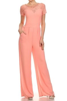 Short Sleeve Full Length Wide Leg Jumpsuit
