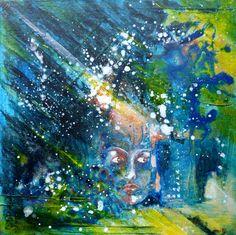 Soir citadin - Tableau peinture acrylique sur carton toilé 20X20 cm - ville ombres lumière : Peintures par clau-mandarine