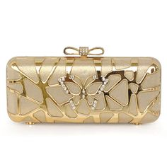 Shiny Hollow Out Silk Clutch With Bowknow Element