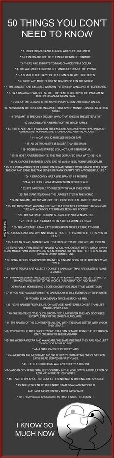 50 things you don't need to know...any of these could spark a Type 3 investigation!