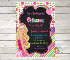 Princess Barbie Birthday Invitation Barbie by MagicalPartiesbyG