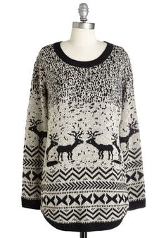 Question and Antler Sweater. When winter sends a snow shower your way, you answer by cuddling up in this deer-printed sweater! #gold #prom #modcloth