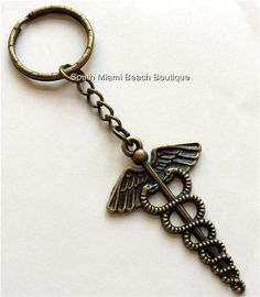 Gold Caduceus Keychain Key Ring Doctor Nurse Medical Gift RN LPN MD PA CRNA USA #SouthMiamiBeachBoutique