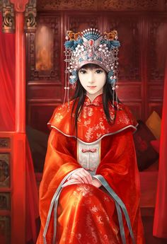 [Chinese traditional wedding dress] Don't you think the Match colors is soooo pretty? Chinese Wedding Dress Traditional, Chinese Bride, Chinese Style, Chinese Art, Traditional Outfits, Photo Awards, Chinese Culture, Asian Art, Asian Beauty