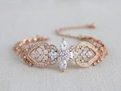 Rose gold bracelet, Bridal jewelry, Bridal bracelet, Crystal Wedding bracelet, Swarovski bracelet, Cuff bracelet, Vintage style bracelet by treasures570 on Etsy