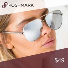 QUAY x DESI High Key Sunnies Silver frames and silver lens aviator sunnies. These High Key sunnies are apart of the Desi Perkins collab with QUAY. Brand New. No scratches. Comes with case. Lowest price listed. Quay Australia Accessories Sunglasses