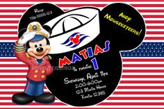 Sailor Mickey Mouse Nautical Birthday Invitations por LovelyDesings