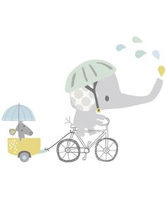 Smile, It's Raining Olifant op Fiets - Muursticker XL