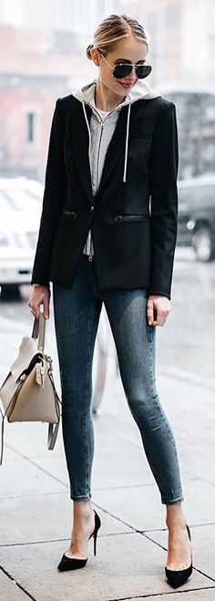 #spring #outfits woman wearing black button-up jacket holding brown leather handbag. Pic by @_luxury_fashion_style