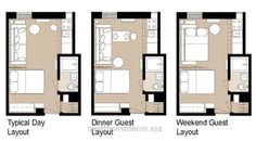 400 sq ft trump hotel suite layout in that would work - Small studio apartment layout ...