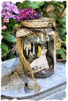 images about fairy jars on Mason Jars, Bottles And Jars, Mason Jar Crafts, Fairy Lanterns, Fairy Jars, Fairy Crafts, Jar Art, Altered Bottles, Crafts To Make And Sell