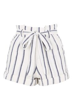 Stripe Paperbag Shorts - New In This Week - New In - Topshop Paper Bag Shorts, Bow Shorts, Tie Dye Shorts, Cute Shorts, Striped Shorts, High Waisted Shorts, High Rise Shorts, Tie Waist Shorts, Cream Shorts