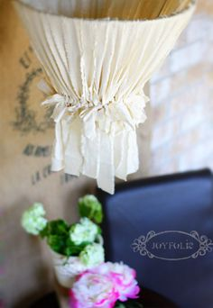 torn fabric chandelier DIY