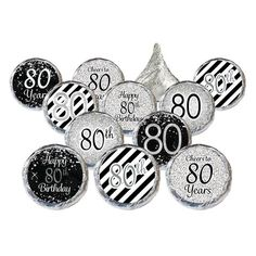 Happy 80th Birthday! Celebrate the birthday guest of honor in stylish silver and black for their milestone 80th birthday event.Your...