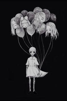 Image via We Heart It https://weheartit.com/entry/120291589/via/148875 #ballons #dark #death #dress #girl #grunge #heads #wallpaper