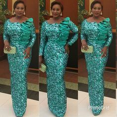 About Yesterday Nominee party .pls remember to vote by text to 35070 Eloy Jumoke Raji .Good Morning peeps Dress by TKF African Attire, African Wear, African Women, African Lace Styles, African Lace Dresses, Turquoise Clothes, Turquoise Outfits, African Blouses, Latest Aso Ebi Styles