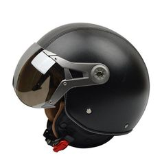 VCOROS V288 RETRO OPEN FACE CRUISER HELMETS-CRUISER HELMETS-CRUISER-black leather-M-Helm Zone